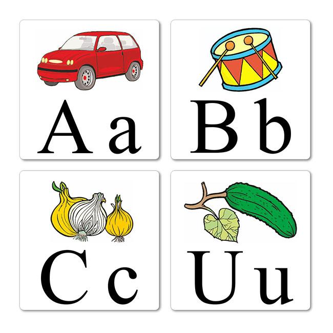 abeceda na kartach do univerzalnej kocky s vreckami